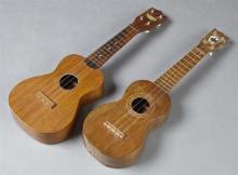 Two Hawaiian Ukuleles, 20th c., of koa wood, one by Harmony, Harmony- H.- 21 3/4 in., W.- 7 1/8 in., D.- 2 3/8 in.