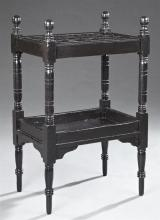 English Ebonized Map Rack, 19th c., on turned supports, the top sectioned to hold rolled maps, H.- 35 1/2 in., W.- 22 1/2 in., D.- 1...