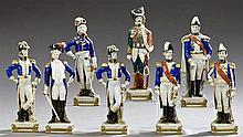 Set of Eight Polychromed Porcelain Figures, 20th c., of Napoleon's generals by Scheibe Alsbach, consisting of