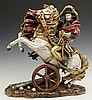 Italian Polychromed Figure of Napoleon on Horseback, 20th c., Italy, by KB, after the painting by Jacques David, on a rocaille base...