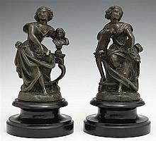 Pair of Diminutive Patinated Spelter Statues, 19th c., depicting sculpture and painting, on stepped ebonized wooden bases, H.- 8 in....