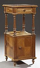 French Louis XVI Style Parquetry Inlaid Pitch Pine Marble Top Nightstand, c. 1900, the inset shaped marble over a single frieze draw...