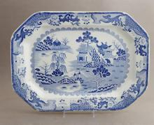 English Ironstone, Blue and White Octagonal Platter, 19th c., with oriental landscape pattern, verso stamped with a crown and
