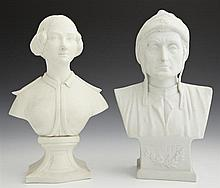 Two Parian Cabinet Figures, 19th c., one of Dante, the other of a woman, Dante- H.- 8 1/2 in., W.- 4 3/4 in., D.- 2 3/4 in. (2 Pcs.)
