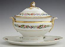 Old Paris Porcelain Covered Sauce Boat, 19th c., with gilt and floral decoration, on an integral flat, old repairs to lid, H.- 7 1/4...