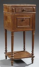 Louis XVI Style Marble Top Nightstand, c. 1900, the inset highly figured brown marble over a reeded frieze drawer above a fall front...