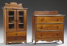 Two Pieces of Dollhouse Furniture, c. 1900, consisting of a chest of drawers and a miniature glazed door china cabinet, China Cabine...