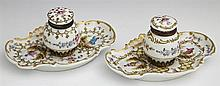 Pair of French Porcelain Inkwells, c. 1900, with gilt, figural and floral decoration, with original porcelain inserts, H.- 3 in., W....