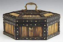 Anglo Indian Hexagonal Porcupine Quill Box, late 19th c., with bone inlay, the interior of the lid with an inlaid bone elephant, H.-...