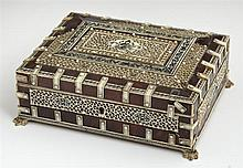 Indian Tortoise Shell Dresser Box, late 19th c., with scrimshawed pierced bone bands and bone strapping, on bone paw feet, H.- 3 1/8...