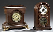 Two Mantel Clocks, 19th c., an arched oak alarm clock by Ingraham and a poplar temple form example by New Haven, both time and strik...