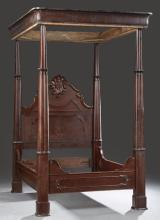 American Rococo Mahogany Full Tester Bed, mid 19th c., of the type crafted for the antebellum New Orleans market, the projecting oge...