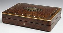 Fine Inlaid Burled Walnut and Rosewood Brass Bound Jewelry Box, c. 1870, the lid with brass, mother-of-pearl and parquetry inlay, th...