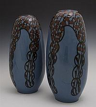 Pair of German Mid-Century Modern Ceramic Baluster Vases, 20th c., #2288, the underside impressed