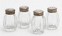 Set of Four French Glass Individual Salt Shakers, 20th c., with first standard silver tops, in original presentation box, H.- 1 5/8...