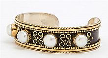 Anne Pratt Sterling and 18K Yellow Gold Cuff Bracelet, mounted with four 10mm mabe pearls, signed verso, H.- 3/4 in., W.- 2 7/16 in....