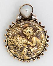 Anne Pratt Sterling and 18K Yellow Gold Pendant/Brooch, with relief decoration of