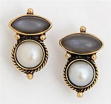 Pair of Anne Pratt 18K Yellow Gold and Sterling Clip Earrings, each mounted with a 7mm mabe cultured pearl mounted beneath a cabocho...