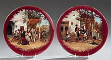 Pair of Hand Painted Ceramic Chargers, early 20th c., with scenes of Andalusia, signed Gede, on magenta grounds with gilt rims, H.-...