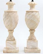 Pair of Carved Alabaster Lamps, early 20th c., the twist carved urns on socle supports to stepped square bases, H.- 16 1/2 in., W.-...