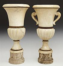 Pair of Brass Mounted Carved Alabaster Campana Form Torchere Lamps, early 20th c., on socle supports to stepped reeded bases, H.- 19...