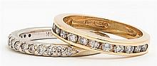Two Diamond Mounted Bands, one in white gold, the other yellow, Yellow- Size 4 3/4, White- Size 5, Wt.- .16 troy oz.