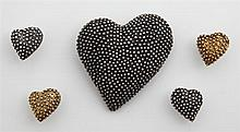 Group of Five Pieces of Anne Pratt Jewelry, consisting of two pairs of sterling rubbed heart earrings, and a large matching pendant...