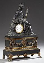 Fine Gilt and Patinated Bronze Mantel Clock, 19th c., by Vincenti & Cie., time and strike, with a large seated figure of Nike with a...