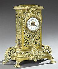 Gilt Bronze Renaissance Style Mantel Clock, 19th c., by S. Marti, time and strike, the sloping top with a central relief lion's masq..