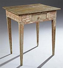 Southern Acadian Carved Cypress Side Table, 19th c., Louisiana, the rectangular top over a wide skirt with a single drawer, on squar...