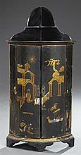 Chinese Export Parcel Gilt Lacquered Bowfront Corner Cupboard, early 20th c., with a serpentine arched back over double cupboard doo...