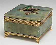French Bronze Mounted Green Marble Dresser Box, c. 1880, the top with a cabochon green agate, the whole on cabriole legs on scrolled...