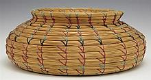 Native American Pine Needle Basket, 20th c., of baluster form, H.- 4 1/4 in., Dia.- 10 3/4 in.
