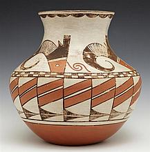 Native American Pottery Baluster Vase, 20th c., possibly Acoma, with paint decoration, H.- 11 in., Dia.- 11 in.