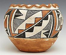 Native American Acoma Pottery Baluster Bowl, with geometric painted decoration, the underside marked