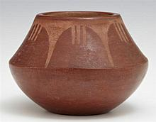 Native American Santa Clara Red Glazed Pottery Vase, 20th c., signed