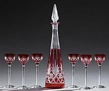 Seven Piece Pink Overlay Cut Crystal Liqueur Set, 20th c., consisting of a decanter and six stemmed liqueur glasses, Decanter- H.- 1...
