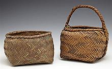 Two Cherokee Native American Woven Baskets, c. 1890, one handled, Handled- H.- 10 in., W.- 8 1/2 in., D.- 7 1/2 in.