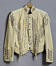 Beaded Fringed Renegade Suede Leather Short Jacket, by Ren Ellis, with silver concho style buttons, harebone and silver bead accents...
