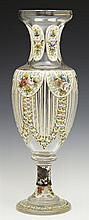 Bohemian Glass Footed Vase, 19th c., with hand painted floral and gilt decoration, H.- 15 in., Dia.- 5 1/4 in.