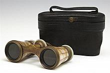 Two Mother of Pearl Opera Glasses, 19th c., one by Moublon, Paris; the other by Leclerc, Paris, both in original leather cases, Lecl...