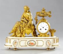 Gilt Spelter and Alabaster Figural Mantel Clock, 19th c., by Japy Freres, with a seated classical woman next to a drum clock with a...