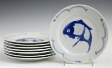 Set of Eight Korean Porcelain Plates, 19th c., with fish decoration, H.- 1 in., Dia.- 8 in.