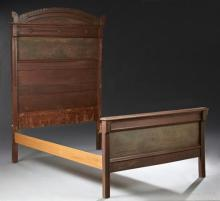American Eastlake Carved Walnut Bed, late 19th c., the arched crest above a paneled headboard flanked by carved stiles, joined by ra...