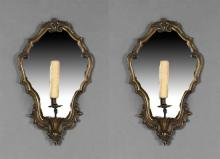 Pair of Gilt Spelter Italian Baroque Style Mirrored Single Light Sconces, early 20th c., with shaped mirrors and central candle arms...