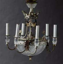 Diminutive Louis XV Style Nine Light Glass and Polychromed Iron Corbeille Chandelier, 20th c., with a tapered glass mounted standard...