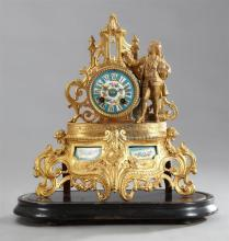 Gilt Spelter and Porcelain Figural Mantel Clock, 19th c., the drum clock, time and strike, with a hand-painted Sevres style porcelai...