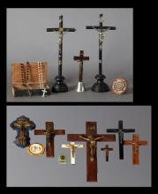 Large Group of French Religious Items, 20th c., consisting of five crucifixes; a holy water font; 3 table crucifixes; a relief plaqu...