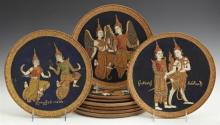 Group of Seven Thai Painted Circular Mahogany Plaques, depicting brightly garbed Thai figures, late 19th c, Dia.- 10 in.