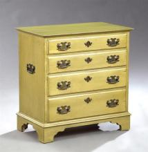 Diminutive Chippendale Style Chest, 20th c., with four drawers on a plinth base on bracket feet, in a green paint finish, H.- 24 1/4...